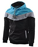 Mooncolour Men's Novelty Color Block Hoodies Cozy Sport Autumn Outwear  Black/Grey/Blue  M Black US Medium
