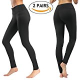 Deilin Yoga Pants (2 Pairs), High Waist Tummy Control Workout Yoga Leggings