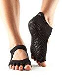 toesox Women's Bellarina Half Toe Grip Non-Slip for Ballet, Yoga, Pilates, Barre Toe Socks (Black) Small