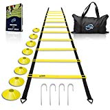 Invincible Fitness Agility Ladder Training Equipment, Improve Coordination, Speed, Develop Explosive Power, Strength and Better Footwork, Includes 8 Cones + 4 Hooks for Outdoor Workout