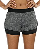 icyzone Running Yoga Shorts for Women - Activewear Workout Exercise Athletic Jogging Shorts 2-in-1 (Charcoal, S)