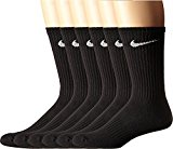 NIKE Unisex Performance Cushion Crew Socks with Bag (6 Pairs), Black/White, Large