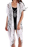 Womens Lace Cardigan Beach Wear Cover up Swimwear Bikini Lace Floral Long Tassel Crochet Dress,White ,One Size