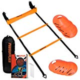 Agility Ladder and Cones 20 Feet 12 Adjustable Rungs Fitness Speed Training Equipment + 16 Agility & Exercises Ebook | 2 Carry Bags + 10 Cones + 4 Stakes | Basketball, Soccer, Football