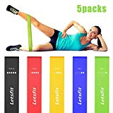 Letsfit Resistance Loop Bands, Resistance Exercise Bands for Home Fitness, Stretching, Strength Training, Physical Therapy, Natural Latex Workout Bands with Exercise Guide and Carry Bag, Set of 5