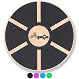 AYOGU Wooden Balance Board,Wobble Board Standing Desk for Exercise Fitness,Physical Therapy,Gym,& Training 15.75 inch Diameter (black, 15.75 in)