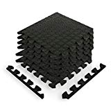 9horn Puzzle Exercise Mat/Protective Flooring Mats with EVA Foam Interlocking Tiles and Edge Pieces suitable for Gym Equipment, Yoga, Surface Protection (Black, 12sqf)