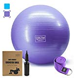 Exercise Ball - Supports 2000lbs Resistant Chairs Yoga Balls - Anti Burst and Slip Stability Training Equipment with Hand Pump,Strap - for Home, Workout,Balance, Gym, Core Strength, Fitness (Purple)