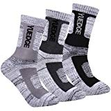 YUEDGE Men's 3 Pairs Wicking Cushion Performance Athletic Outdoor Sports Crew Socks(Black/Light Gray/Gray L)