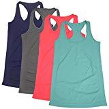 Women Tank Top,Womens Yoga Shirts Round Neck Running Clothes Semath,4 Pack/Acid Blue/Dark Blue/Grey/Shocking Pink,Small