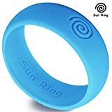 Sun Ring Silicone Wedding Ring For Men, Size 8, Blue (Glow In The Dark)