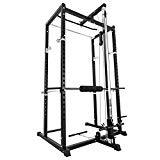 Popsport Deep Squat Rack Series Power Rack Squat Barbell Cage Bench Stand Heavy Duty Multi-Grip Chin-Up Fitness Power Rock with Lat Pull Attachment for Home Gym (BD-7 with lat pull attachment)
