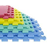 TG Foam Mat Floor Tiles, Interlocking EVA Foam Padding by Stalwart – Soft Flooring for Exercising, Yoga, Camping, Kids, Babies, Playroom – 8 Piece Set