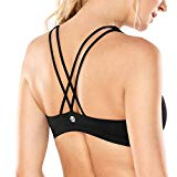 CRZ YOGA Women's Light Support Cross Back Wirefree Yoga Sports Bra Black M