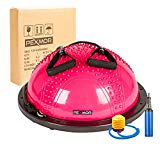 PEXMOR Upgraded Half Ball Balance Trainer Yoga Balance Exercise Ball Fitness Strength Workout Resistance Bands Two Pumps Bonus (Upgraded Version Pink)