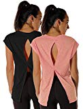 icyzone Open Back Workout Top Shirts - Yoga t-Shirts Activewear Exercise Tops for Women (XL, Black/Pale Blush)