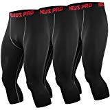 Neleus Men's Compression 3/4 Capri Running Leggings Sports Tights,6057,Black (Grey Stripe),L,EU XL