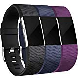 Maledan Bands Replacement Compatible with Fitbit Charge 2, 3-Pack, Black/Blue/Plum, Small