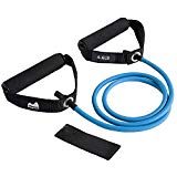 REEHUT Single Resistance Band Exercise Tube with Handle, Door Anchor and Manual, For Resistance Training, Physical Therapy, Home Workouts, Fitness, Pilates,Boxing Strength Training