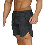 EVERWORTH Men's Gym Workout Shorts Running Short Pants Fitted Training Bodybuilding Jogger With Zipper Pockets Gray L Tag XXL