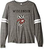 NCAA Wisconsin Badgers Betty Long Sleeve Tri-Blend Football Jersey T-Shirt, Small, Tri Grey/White