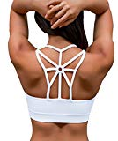 YIANNA Women's Padded Sports Bra Cross Back High Impact Wirefree Strappy Workout Activewear Running Yoga Bra,YA-BRA139-White-M