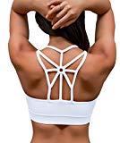 YIANNA Women's Padded Sports Bra Cross Back High Impact Wirefree Strappy Workout Activewear Running Yoga Bra,YA-BRA139-White-M