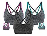 AKAMC Women's Removable Padded Sports Bras Medium Support Workout Yoga Bra 3 Pack,Large