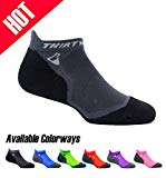 Thirty 48 Ultralight Athletic Running Socks for Men and Women with Seamless Toe, Moisture Wicking, Cushion Padding (XLarge - Women 11-13 // 12-14, [1 Pair] Black/Gray)