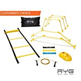 Raise Your Game RYG Speed Agility Training Ladder Cones Hurdles, Exercise Equipment Soccer, Football, Track Field, Basketball Footwork Workout Drills,