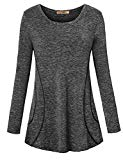 Luranee Moisture Wicking Shirts for Women, Misses Yoga Exercise Tops Solid Color Long Sleeve O Neck Loose Fitting Well Made Durable Elastic Indoor Outdoor Recreation Sports Clothes Charcoal Grey XXL