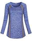 Hibelle Activewear Tops for Women, Womans Stripes Long Sleeve Yoga Exercise Running Gym Sports Shirts Simple Cotton Relaxed Fit Comfy Fashionable Comfort Tunic T-Shirt Blue L