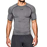 Under Armour Men's HeatGear Armour Short Sleeve Compression Shirt, Carbon Heather /Black, Medium