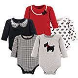 Hudson Baby Baby Long Sleeve Bodysuits, Scottie 5Pk, 6-9 Months (9M)