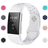 iGK Silicone Replacement Bands Compatible for Fitbit Charge 2, Adjustable Breathable Sport Strap Smartwatch Fitness Wristband with Air Holes with Clsap White Large