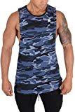 YoungLA Long Tank Tops for Men Muscle Shirt Bodybuilding Gym Athletic Training Sports Everyday Wear 306 Camo Blue Large