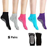 Laviesimple Yoga Socks Full Toe Non Slip Skid Pilates Barre Cotton Grips Sock with for Women 5 Pairs