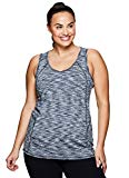 RBX Active Women's Plus Size Activewear Deep V-Neck Tank Top Black and White Combo 1X
