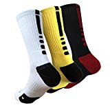 MUMUBREAL Mens Mixed Color Cushioned Dri-Fit Athletic Crew Socks, One Size, White Yellow Black