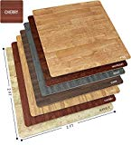 Sorbus Wood Floor Mats Foam Interlocking Wood Mats Each Tile 4 Square Feet 3/8-Inch Thick Puzzle Wood Tiles with Borders – for Home Office Playroom Basement (12 Tiles 48 Sq ft, Wood Grain - Cherry)
