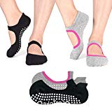 Non Slip Socks Cotton Yoga Socks Pilates Ballet Socks Dance for Women Men 2 Pack(Black & Grey)