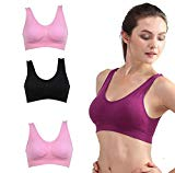 4 Pack Women's Sports Bra Yoga Fitness Stretch Workout Tank Top Seamless Padded Bra Soft Cotton Elastane Bra Seamless Support Comfort Bra (Medium)