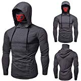 Ximandi Men's Mask Hoody Pullover Hoodie Long Sleeve Slim Fit Hooded Sweater Bicycle Tops