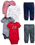 Simple Joys by Carter's Baby Boys 6-Piece Little Character Set, Red/Navy Bear, 3-6 Months