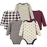 Hudson Baby Baby Long Sleeve Bodysuits, Football 5-Pack, 12-18 Months (18M)