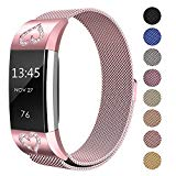 SWEES Metal Bands Compatible Fitbit Charge 2, Milanese Stainless Steel Metal Magnetic Replacement Wristband Small & Large (5.5